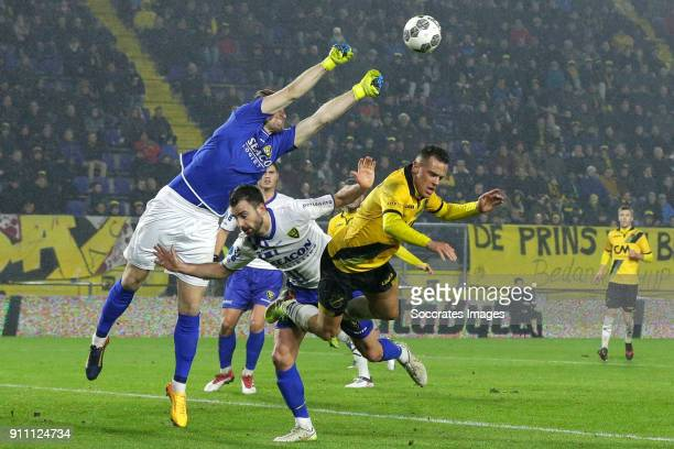 Lars Unnerstall of VVV Venlo Roel Janssen of VVV Venlo Giovanni Korte of NAC Breda during the Dutch Eredivisie match between NAC Breda v VVVVenlo at...