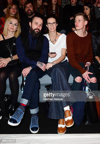 Lars Urban Katrin Wrobel and Tobias Bojko attend the Irene Luft show during the MercedesBenz Fashion Week Berlin Autumn/Winter 2016 at Brandenburg...