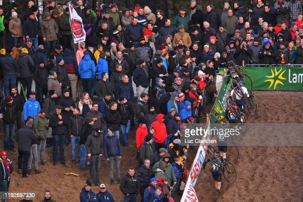 Lars Van Der Haar of The Netherlands and Team Telenet - Baloise Lions / Tom Pidcock of United Kingdom and Team TP Racing / Eli Iserbyt of Belgium and...