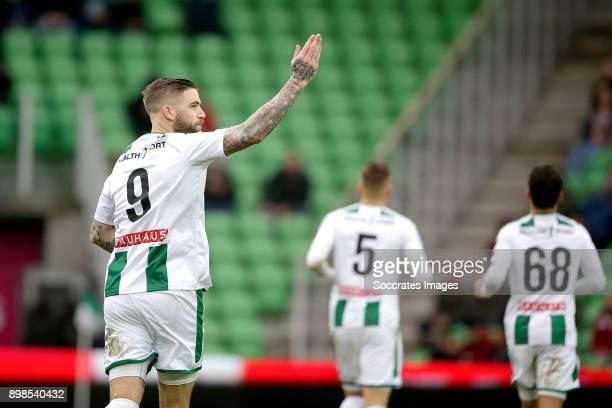 Lars Veldwijk of FC Groningen celebrates 10 during the Dutch Eredivisie match between FC Groningen v Sparta at the NoordLease Stadium on December 24...