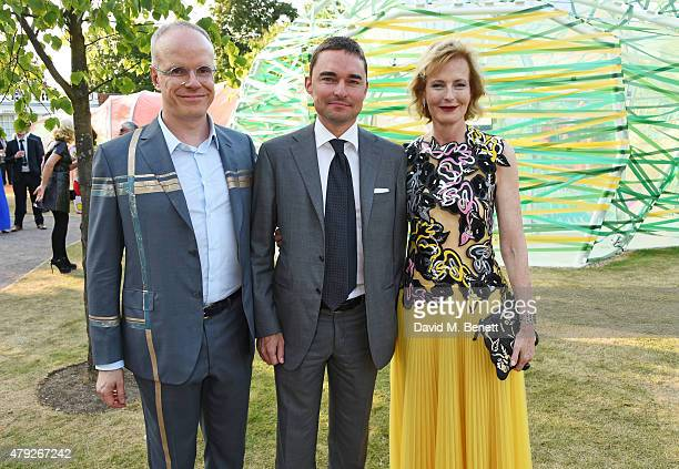 Lars Windhorst poses with CoDirectors of the Serpentine Gallery HansUlrich Obrist and Julia PeytonJones at The Serpentine Gallery summer party at The...