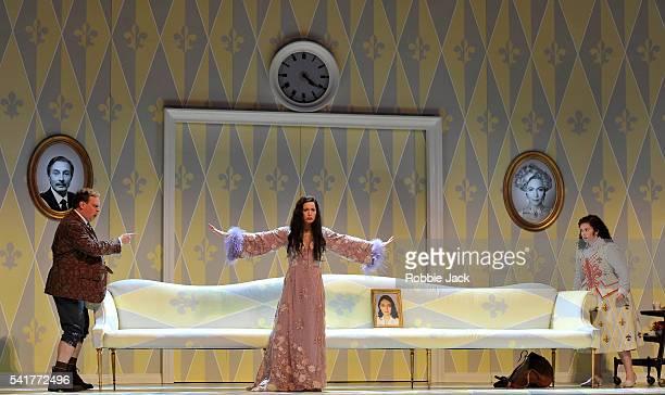 Lars Woldt as Baron Ochs auf Lerchenau Kate Royal as The Marschallin and Tara Erraught as Octavian in Richard Strauss's Der Rosenkavalier directed by...