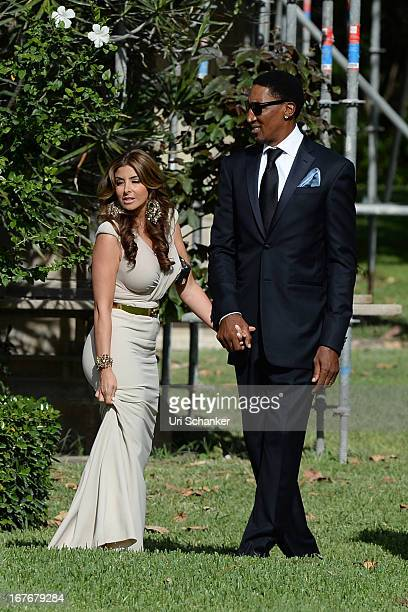 Larsa Pippen and Scottie Pippen are sighted at Michael Jordan and Yvette Prieto wedding Bethesdabythe Sea church on April 27 2013 in Palm Beach...