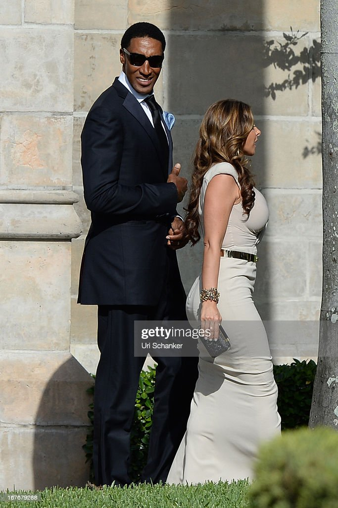Larsa Pippen and Scottie Pippen are sighted at Michael Jordan and Yvette Prieto wedding Bethesda-by-the Sea church on April 27, 2013 in Palm Beach, Florida.