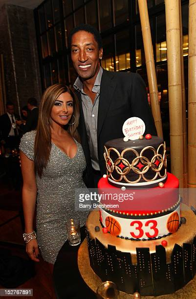 Larsa Pippen and Scottie Pippen attend the surprise birthday celebration for Scottie Pippen at Sunda on September 24 2012 in Chicago Illinois