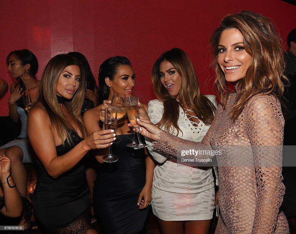 Larsa Pippen, Kim Kardashian West, Carla DiBello and Maria Menounos attend Hakkasan Las Vegas Nightclub inside MGM Grand on July 22, 2016 in Las Vegas, Nevada.