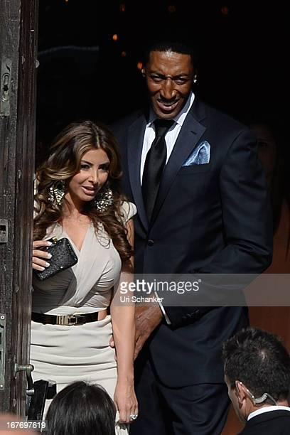 Larsa Pippen'Scottie Pippen arrive at Michael Jordan and Yvette Prieto weddding Bethesdabythe Sea church on April 27 2013 in Palm Beach Florida