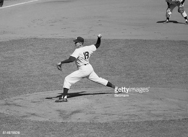 Larsen Pitches Perfect Game New York Yankee righthand hurler Don Larsen shows the form he used on the mound at Yankee Stadium here as he pitched the...