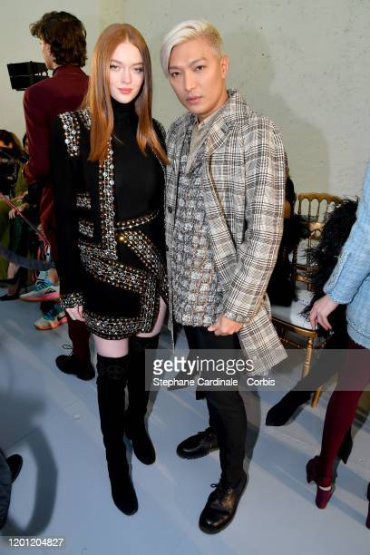Larsen Thompson and Bryanboy attend the Elie Saab Haute Couture Spring/Summer 2020 show as part of Paris Fashion Week on January 22, 2020 in Paris,...