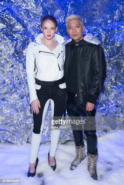 Larsen Thompson and Bryanboy attend the Philipp Plein fashion show during New York Fashion Week The Shows on February 10 2018 in New York City