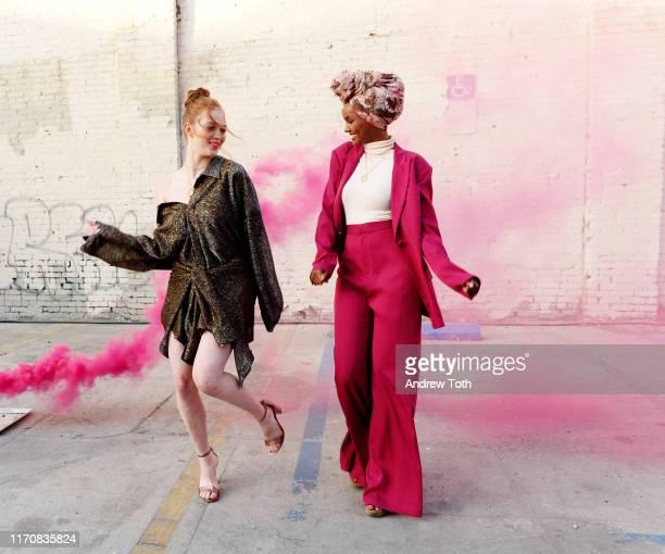 Larsen Thompson and Halima Aden attend Pandora Street Of Loves on August 28 2019 in Los Angeles California