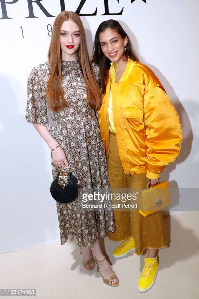 Larsen Thompson and Marina Testino attend the LVMH Prize 2019 Edition at Louis Vuitton Avenue Montaigne Store on March 01 2019 in Paris France