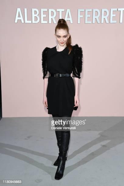 Larsen Thompson attends the Alberta Ferretti show at Milan Fashion Week Autumn/Winter 2019/20 on February 20 2019 in Milan Italy
