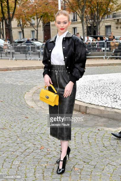 Larsen Thompson attends the Miu Miu show as part of the Paris Fashion Week Womenswear Spring/Summer 2019 on October 2, 2018 in Paris, France.