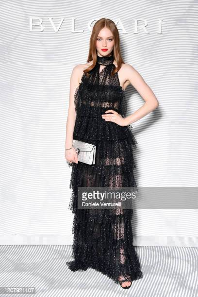 Larsen Thompson attens the Bulgari FW 20 Leather Goods and Accessories Collection Party on February 21, 2020 in Milan, Italy.
