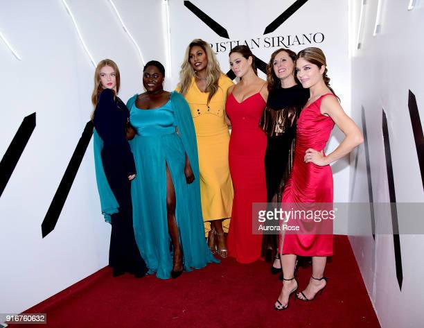 Larsen Thompson, Danielle Brooks, Laverne Cox, Ashley Graham, Molly Shannon and Selma Blair pose backstage at the Christian Siriano show at The Grand...