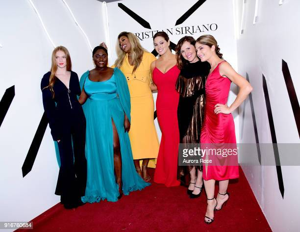 Larsen Thompson Danielle Brooks Laverne Cox Ashley Graham Molly Shannon and Selma Blair pose backstage at the Christian Siriano show at The Grand...