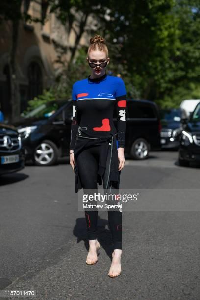 Larsen Thompson is seen on the street during Men's Paris Fashion Week on June 19 2019 in Paris France