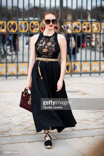 Larsen Thompson is seen outside Dior fashion show on February 25, 2020 in Paris, France.