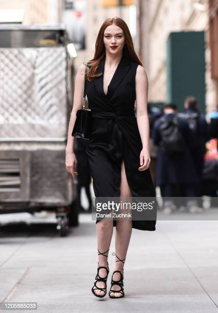 Larsen Thompson is seen wearing a black Michael Kors dress outside the Michael Kors show during New York Fashion Week A/W20 on February 12 2020 in...