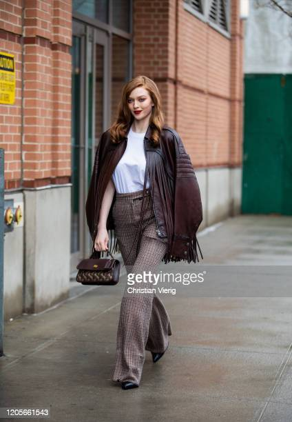 Larsen Thompson is seen wearing brown jacket with fringes outside Coach during New York Fashion Week Fall / Winter on February 11, 2020 in New York...
