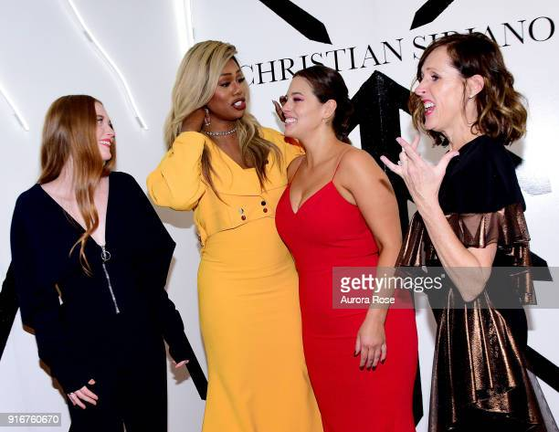 Larsen Thompson Laverne Cox Ashley Graham and Molly Shannon pose backstage at the Christian Siriano show at The Grand Lodge on February 10 2018 in...