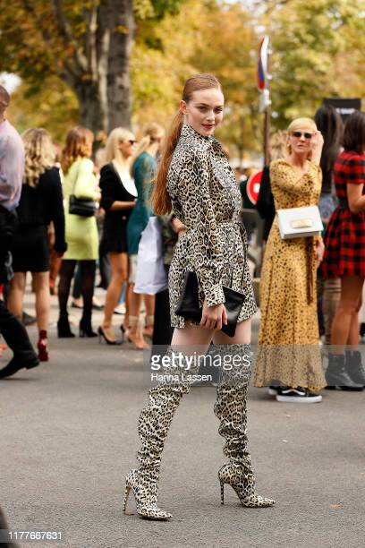 Larsen Thompson outside the Elie Saab show during Womenswear Spring/Summer 2020 show Paris Fashion Week on September 28 2019 in Paris France