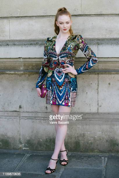 Larsen Thompson poses after the Valentino Show during Paris Fashion Week Haute Couture Fall/Winter 2019/2020 on July 03 2019 in Paris France