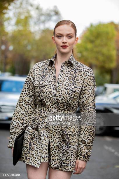 Larsen Thompson seen wearing belted blazer with animal print outside Elie Saab during Paris Fashion Week Womenswear Spring Summer 2020 on September...