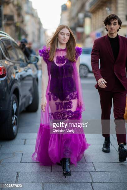 Larsen Thompson seen wearing purple sheer dress outside Viktor & Rolf during Paris Fashion Week - Haute Couture Spring/Summer 2020 on January 22,...