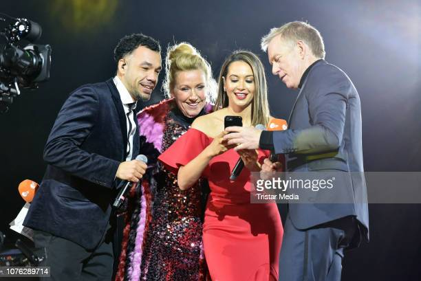 Larsito Andrea Kiwi Kiewel Mandy Capristo and Johannes B Kerner during the ZDF TV Show 'Willkommen 2019' New Years Eve Party at Brandenburg Gate on...