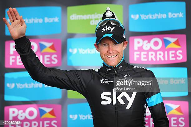 Lars-Petter Nordhaug of Norway and Team Sky celebrates on the podium after his overall victory after Stage 3 of the Tour of Yorkshire from Wakefield...