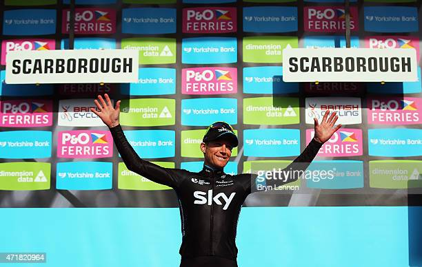 Lars-Petter Nordhaug of Norway and Team SKY celebrates taking the overall race lead after winning stage one of the Tour de Yorkshire from Bridlington...