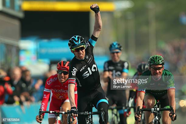 Lars-Petter Nordhaug of Norway and Team SKY celebrates winnning stage one of the Tour de Yorkshire from Bridlington to Scarborough on May 1, 2015 in...