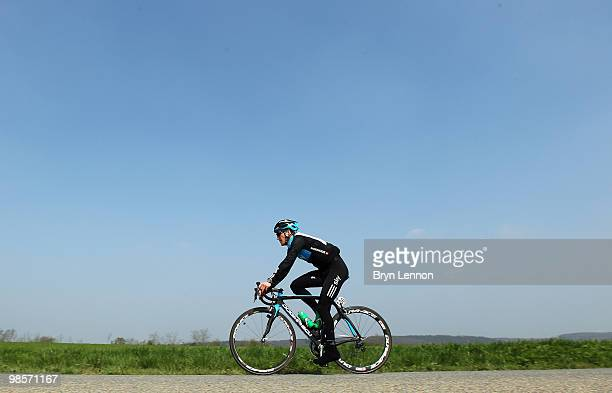 Lars-Petter Nordhaug of Norway and Team SKY on a training ride ahead of tomorrow's 74th Fleche-Wallonne race between Charleroi and Huy on April 20,...