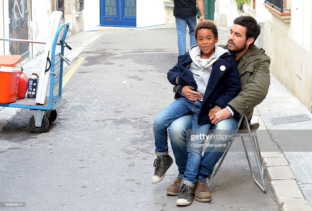 Larsson do Amaral (L) and Mario Casas on the set of their latest film 'Ismael' on March 25, 2013 in Barcelona, Spain.