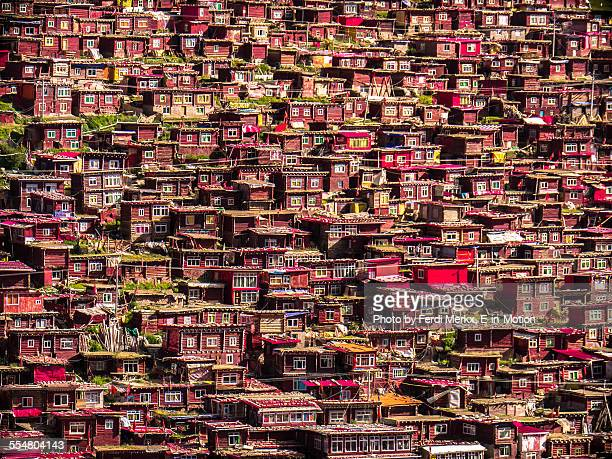 larung gar houses - nun stock pictures, royalty-free photos & images