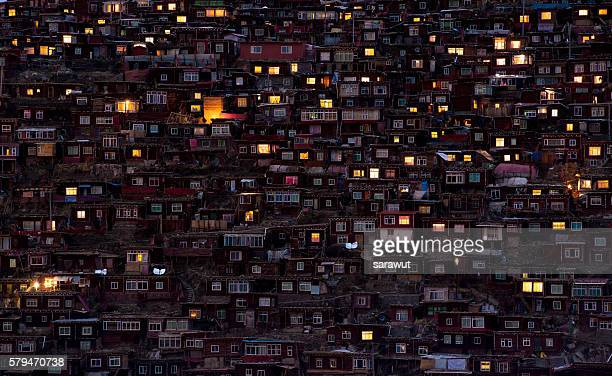 larung gar - community building stock pictures, royalty-free photos & images