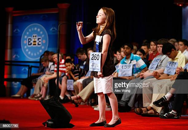Laryn Abigail Meadows of San Angelo, Texas, adjusts the microphone as she competes during the 2009 Scripps National Spelling Bee competition May 27,...