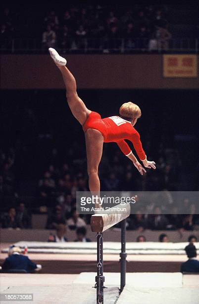 Larysa Latynina of Soviet Union competes in the Balance Beam of the Women's Artistic Gymnastics Individual AllAround during the Tokyo Olympics at...