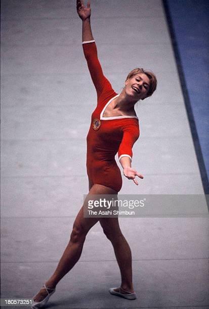 Larysa Latynina of Soviet Union competes in the Floor of the Women's Artistic Gymnastics Individual AllAround during the Tokyo Olympics at Tokyo...