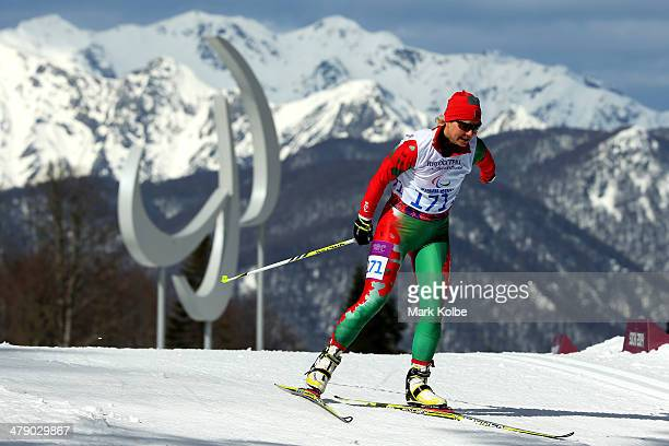Larysa Varona of Belarus competes in the Women's Cross Country 5km Free – Standing on day nine of the Sochi 2014 Paralympic Winter Games at Laura...