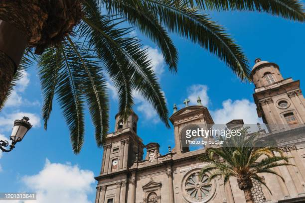 las palmas de gran canaria cathedral and blue sky - las palmas de gran canaria stock pictures, royalty-free photos & images
