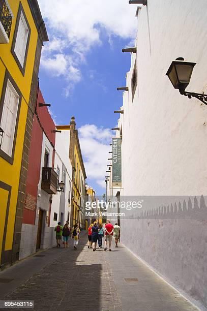 las palmas old town street. - las palmas cathedral stock photos and pictures