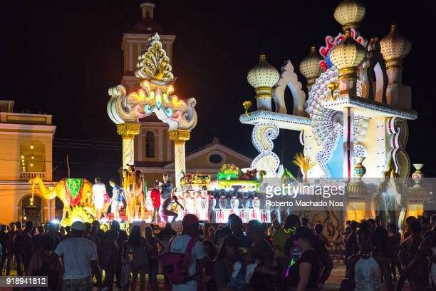 Las Parrandas or Christmas Festival crowd in front of the San Salvador district main float The traditional celebrations date from more than a hundred...