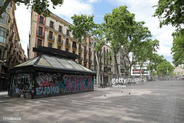 Las Ramblas empty on Saint George's Day, in Barcelona on 23th April 2020 during the coronavirus emergency.