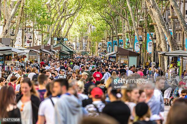 las ramblas in barcelona. - barcelona spain stock photos and pictures