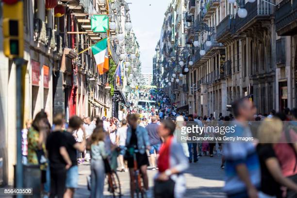 Las Ramblas scene at Barcelona close to Plaça de Catalunya, Spain. Aftermath Of The Barcelona Terror Attack