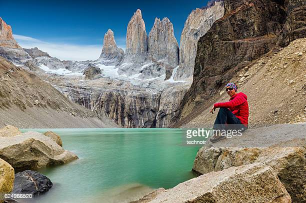 las torre, torres del paine, patagonia, chile - patagonia chile stock photos and pictures