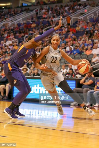 Las Vegas Aces center A'ja Wilson dribbles the ball during a WNBA game between Las Vegas Aces and Phoenix Mercury on June 10 at Talking Stick Resort...
